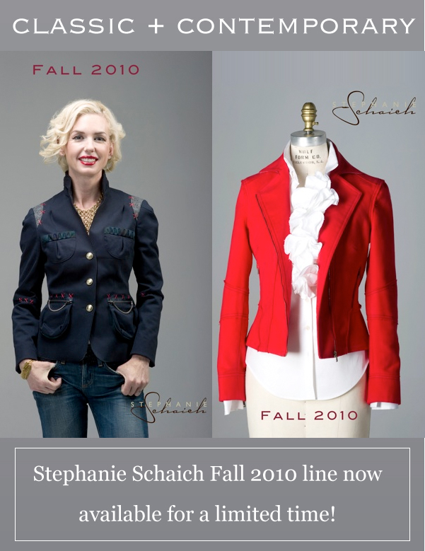 Classic + Contemporary. Stephanie Schaich Fall 2010 line now available for a limited time!