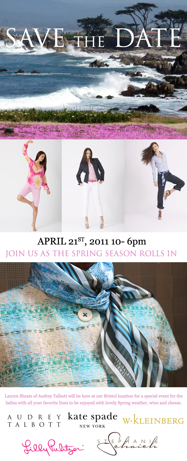 Spring Rolls in for the Ladies: Featuring Audrey Talbott, Stephanie Shaich, W. Kleinberg, Kate Spade, and Lily Pulitzer!