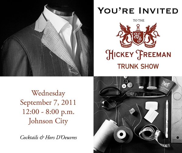 Reminder: Hickey Freeman Trunk Show in Johnson City Today