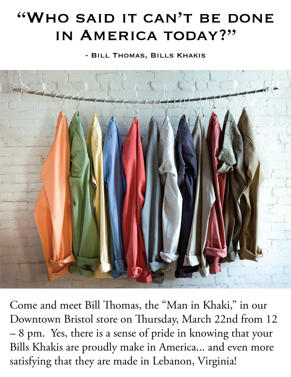 "Bills Khakis Trunk Show: Meet ""the"" Bill"