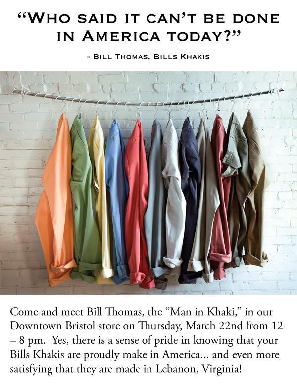 """Bills Khakis Trunk Show: Meet """"the"""" Bill"""