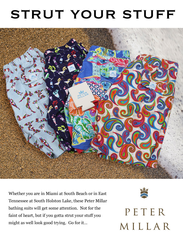 Strut your stuff in Peter Millar bathing suits.