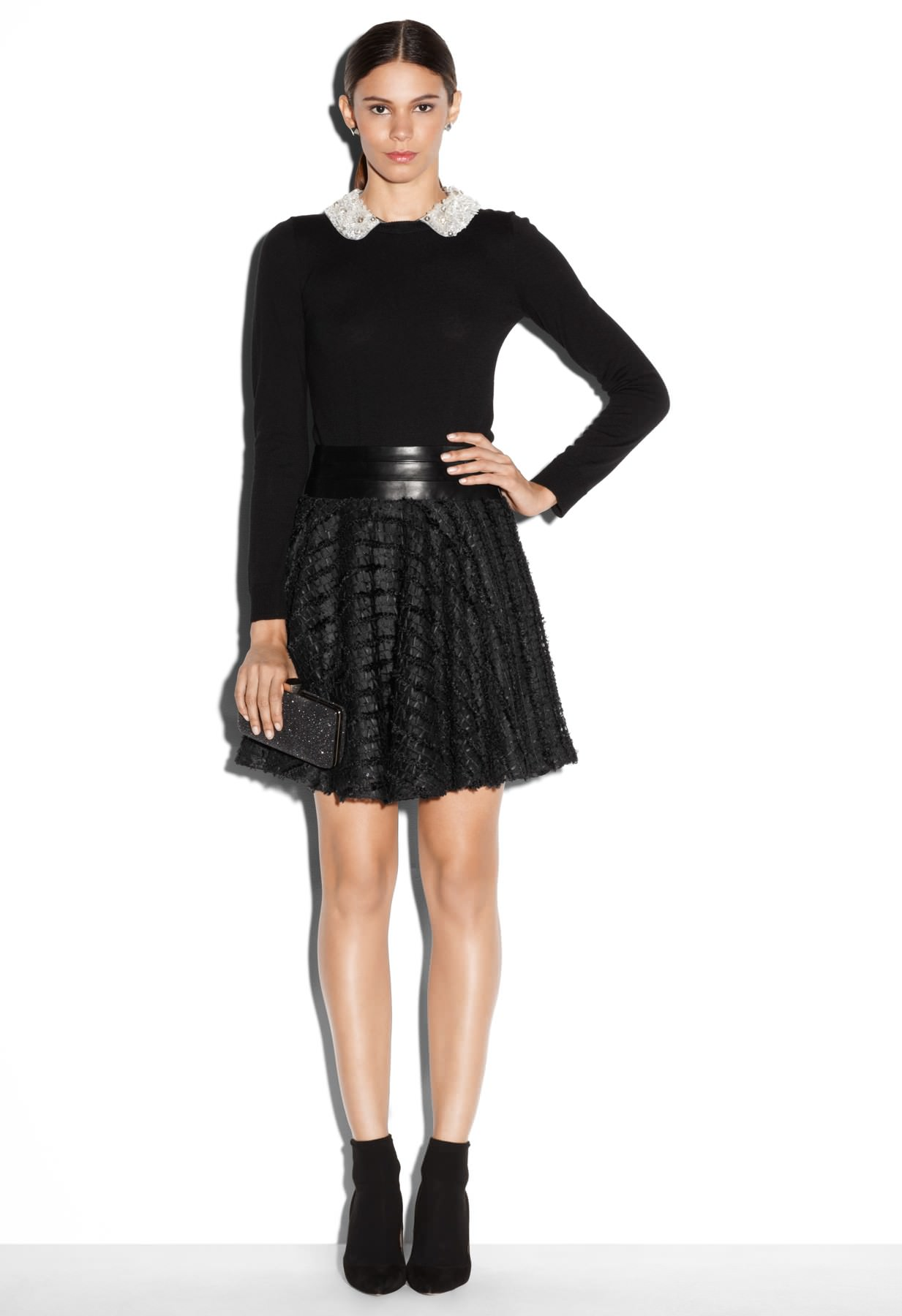 Crystal Collar Sweater and Delphine Circle Skirt